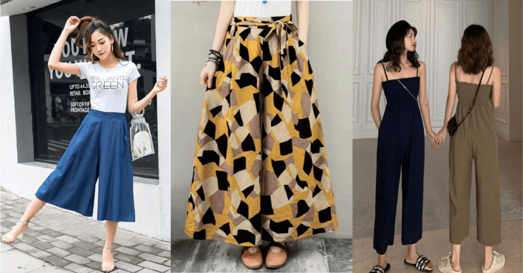 Culottes are knee-length trousers