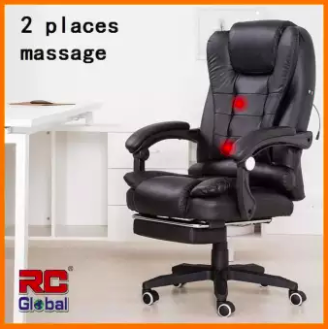 cushy leather chair with a massage option, a footrest, armrests, and a headrest