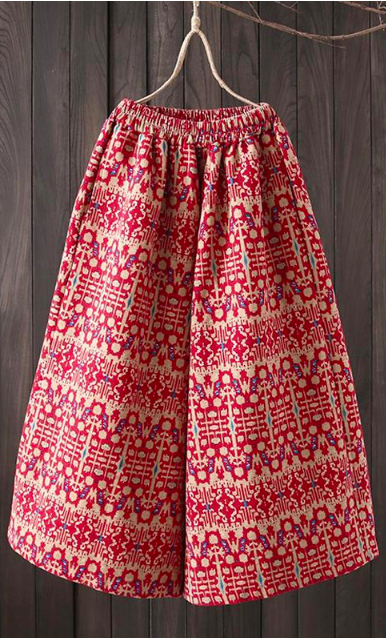 culottes with red and yellowish tribal prints