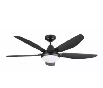 Small ABS plastic black fan with five blades