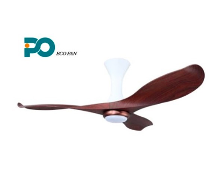 cherrywood ceiling fan with three angular blades, twisted in a half-spiral shape.