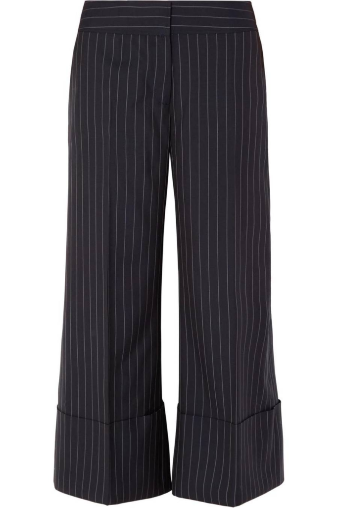 Cropped Pinstriped Wool-Crepe Wide-Leg Pants