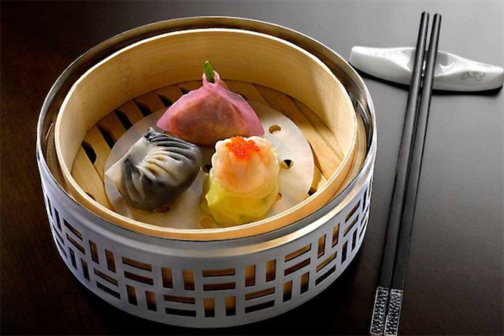 3 steamed dumplings from Cherry Garden, a restaurant serving dim sum buffet