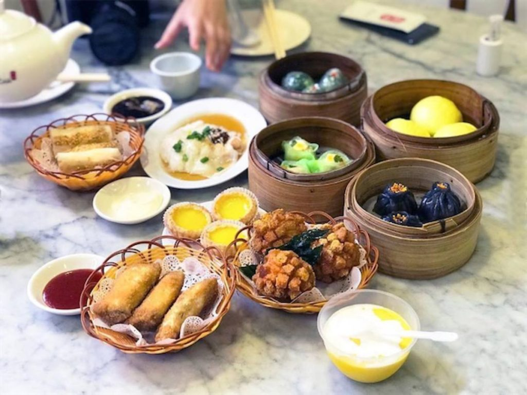 Dim sum dishes available at Yum Cha, a Chinese restaurant serving dim sum buffet