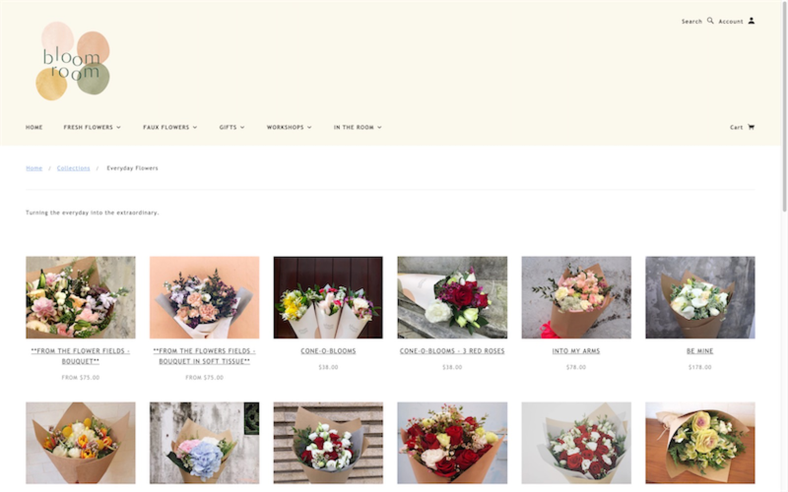 bloom room - website