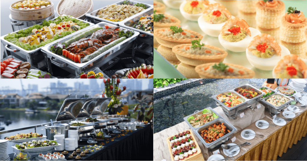 Assorted food choice in buffet catering