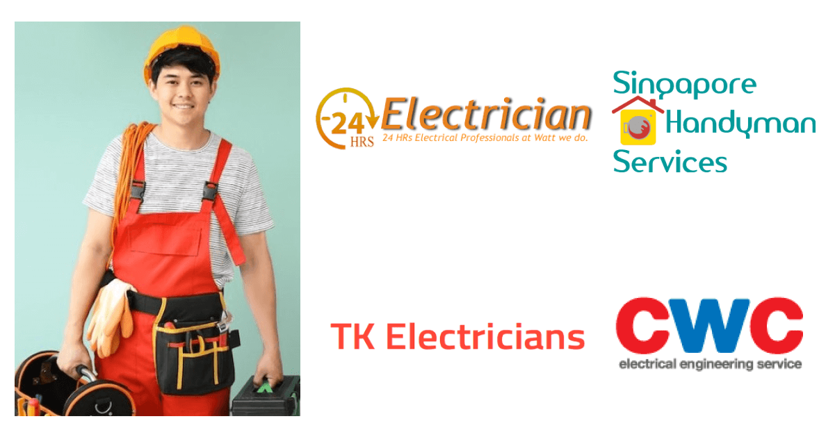 An electrician with tools and work attire with electric company logos