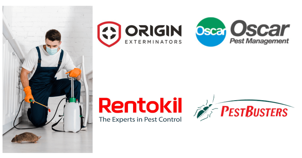 A pest control worker with pest control company logos beside it