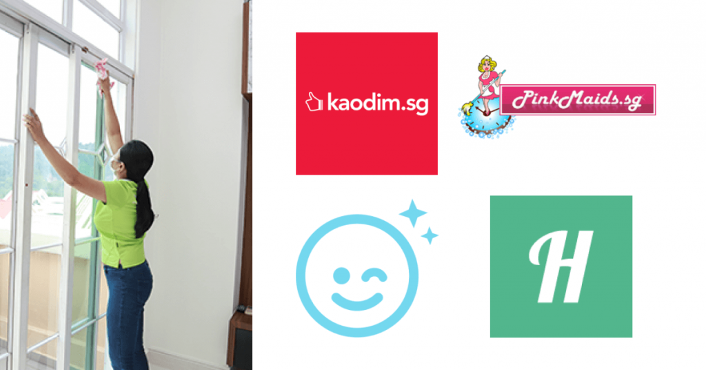 Part-time maids cleaning a house with agency logos