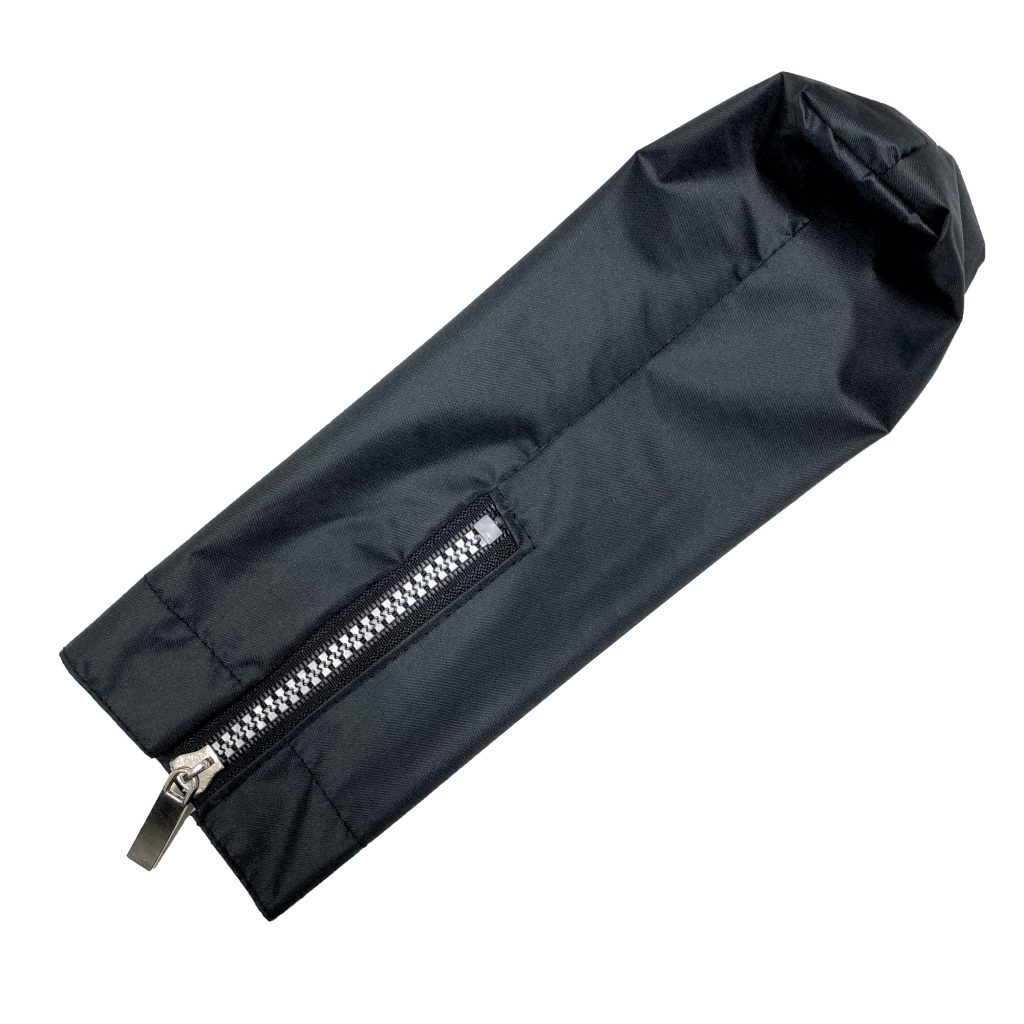 The Hailstorm umbrella's sleeve with its metal zipper