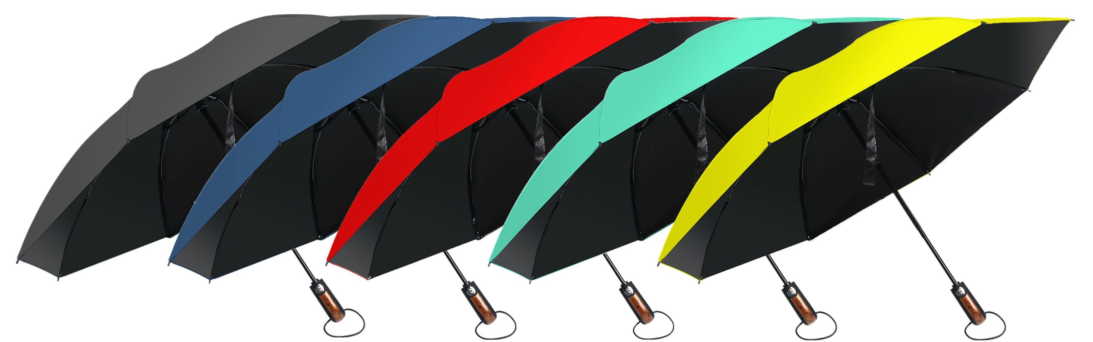 5 Hailstorm umbrellas of different colours, laid out next to each other