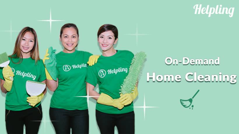 three part time maids from Helpling with cleaning equipment