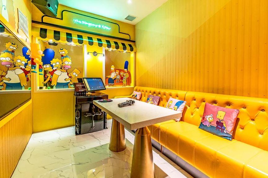 K star karaoke cute yellow themed room