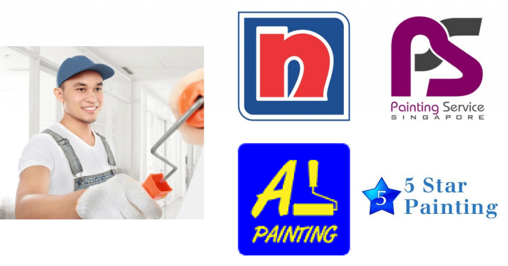 A man painting a wall with painting company logos