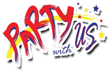 Logo of Party With Us, a party supplies provider in Singapore
