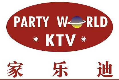 Logo for Party World KTV, a karaoke place in Singapore
