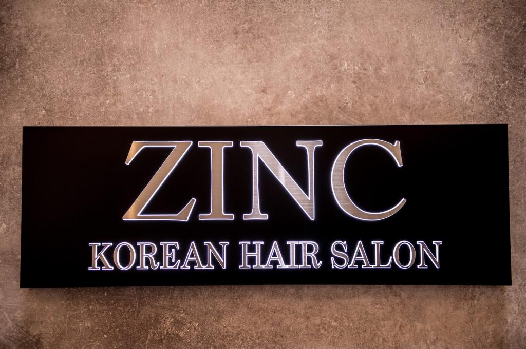 Name plate of Zinc Korean Hair Salon