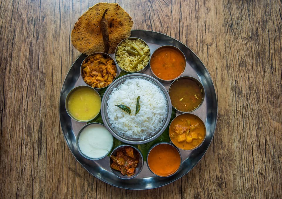 rice with side dishes including curry