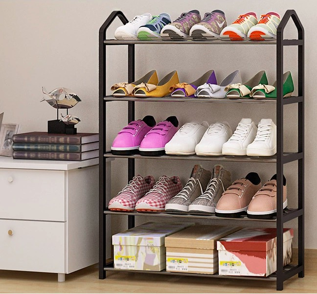 a shoe rack filled with shoes