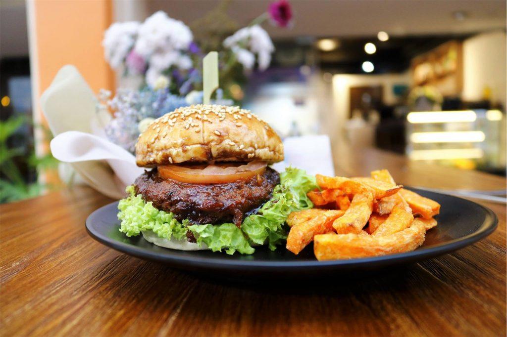vegetarian burger with fries