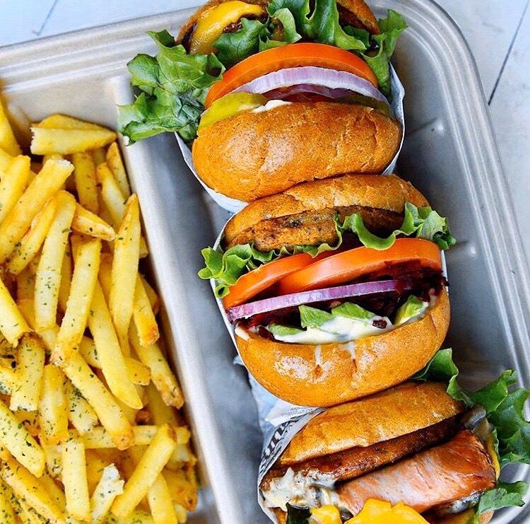 vegan burgers with fries