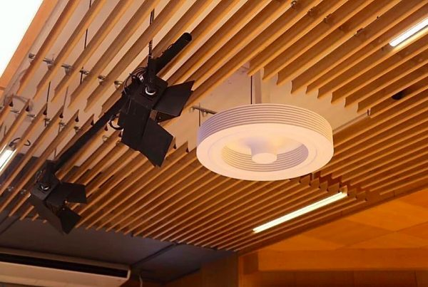 bladeless ceiling fan installed at the ceiling