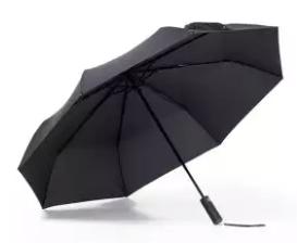 Open Xiaomi umbrella resting on the ground