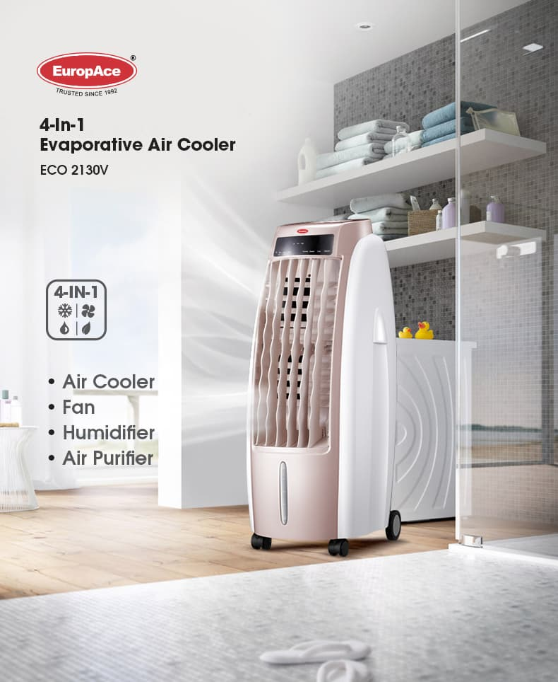 EuropAce 4-in-1 Evaporative Air cooler ECO 2130V - Air cooler / fan / humidifier / Air purifier