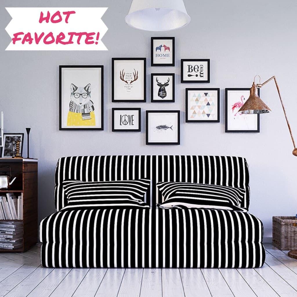 Tatami foldable black ad white stripes sofa bed i the living room