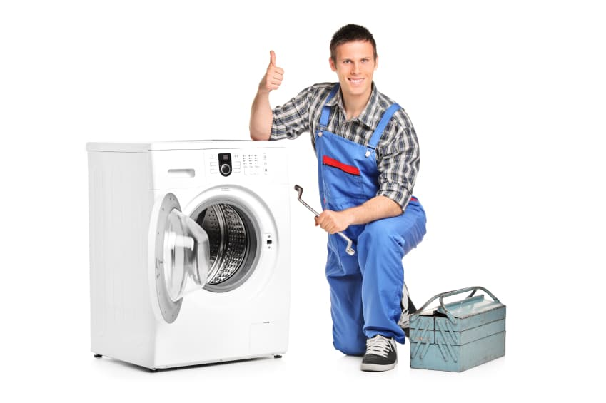 man holding a tool for a washing machine repair in singapore