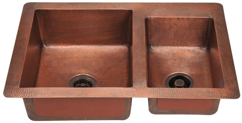 901 Offset Double Bowl Copper Sink