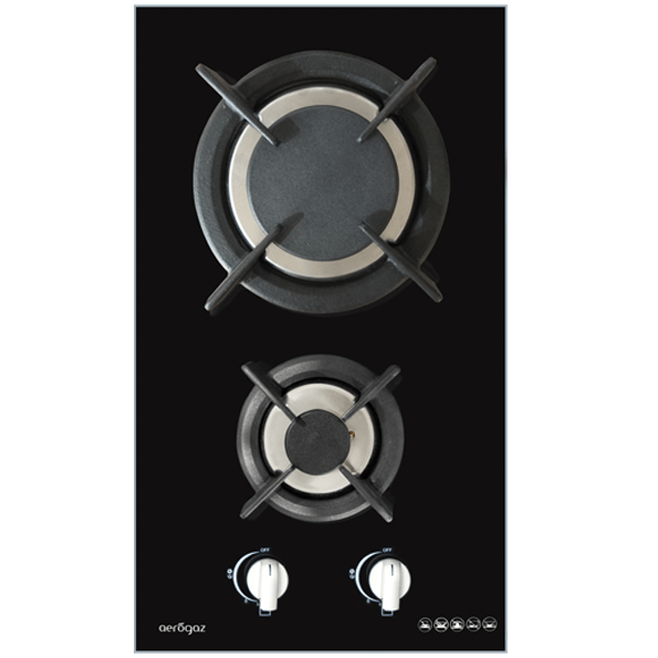 Aerogaz (PUB Gas) AZ-262F 30cm Tempered Glass Hob, Color Black