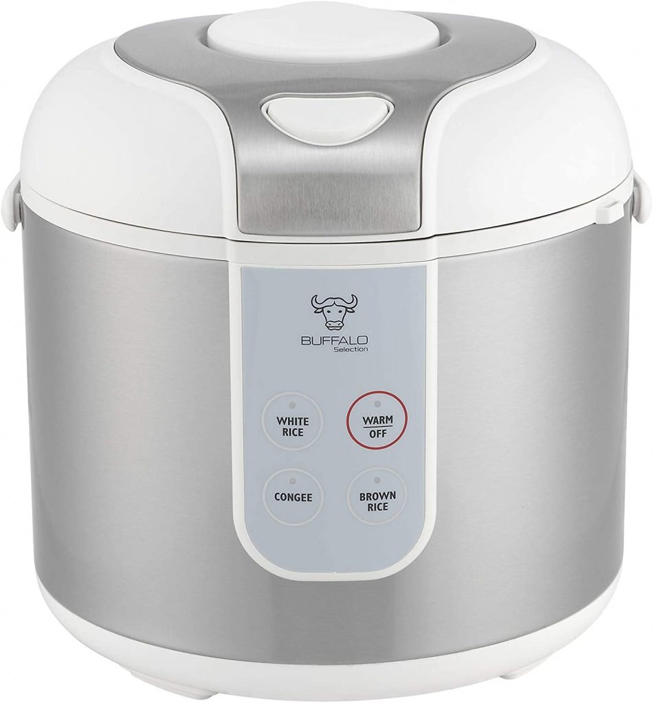 Buffalo Classic Rice Cooker white and silver color