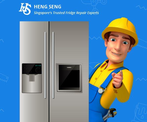 Heng seng website header with fridge and technician