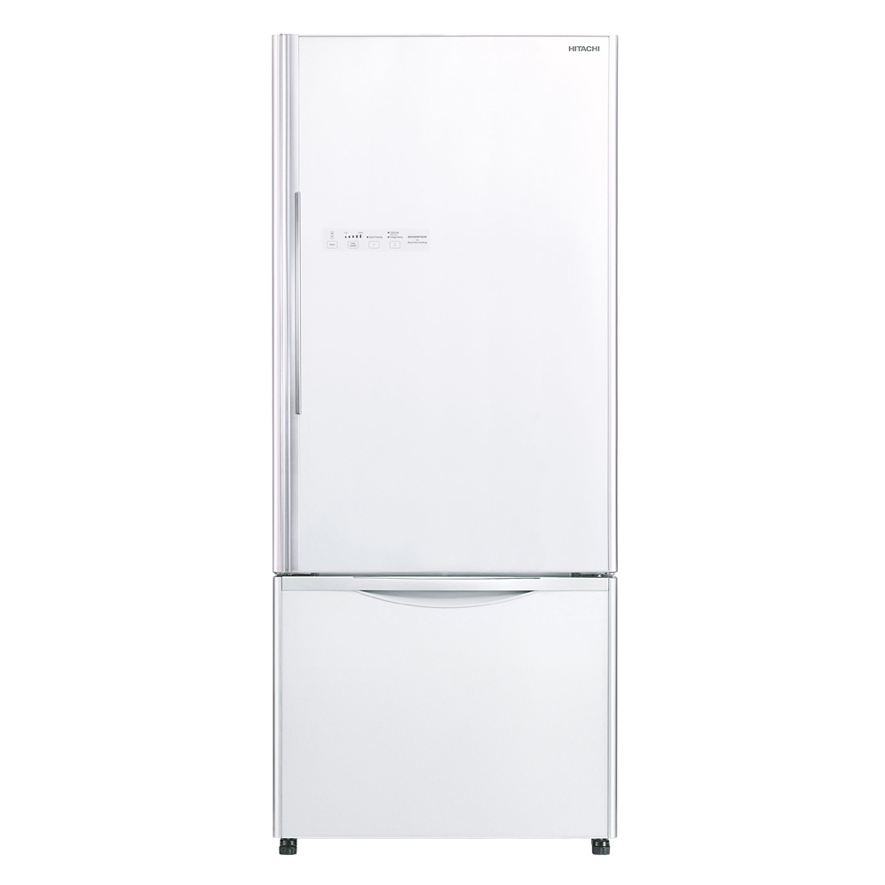 Hitachi R-B570P7MS Bottom Freezer Refrigerator 470L glass pure white color
