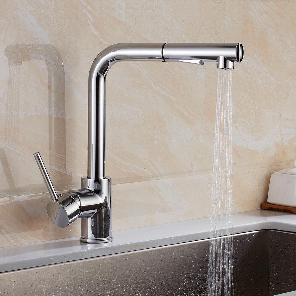 Modern Pull Out Kitchen Sink Taps Basin Spray Mixer Tap Brass Dual Spout Faucet