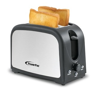PowerPac 2 Slice Pop-up Bread Toaster (PPT03) with 2 slices of bread