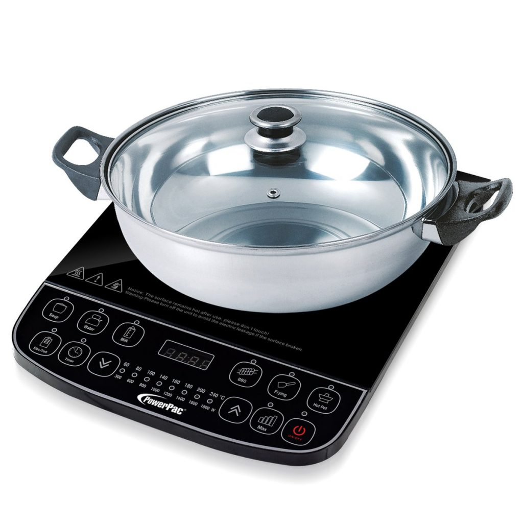 PowerPac Induction Cooker Steamboat With Stainless Steel Pot