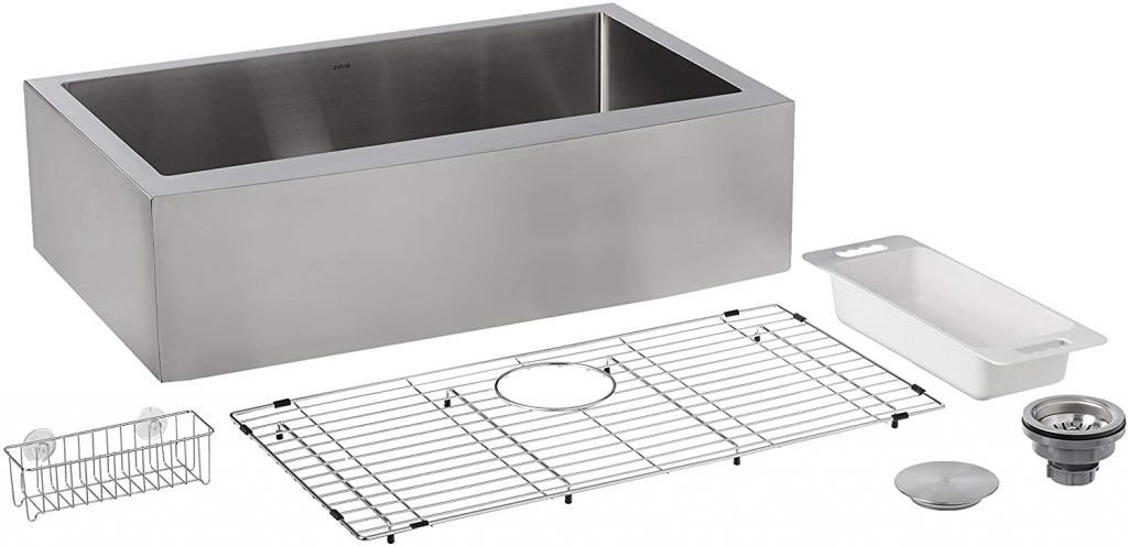 ZUHNE Prato 33 Inch Single Bowl Farm House 16G Stainless Steel Kitchen Sink, Scratch Protector Grid, Caddy and Strainer