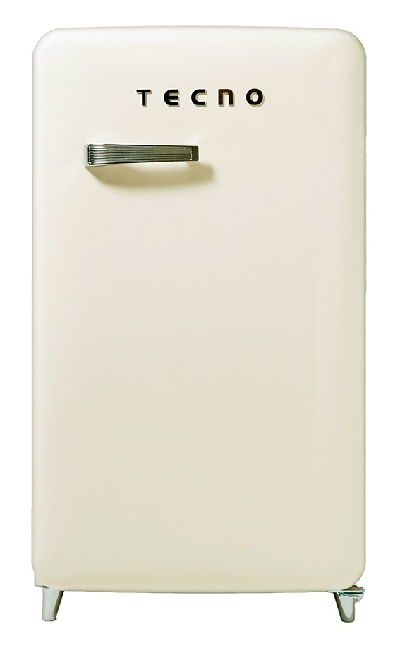 Tecno 1-Door Retro Series Designer Fridge Cream White