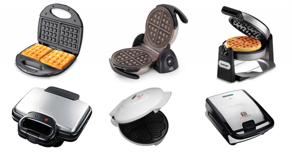 different varieties of waffle makers