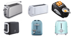 A variety of bread toasters