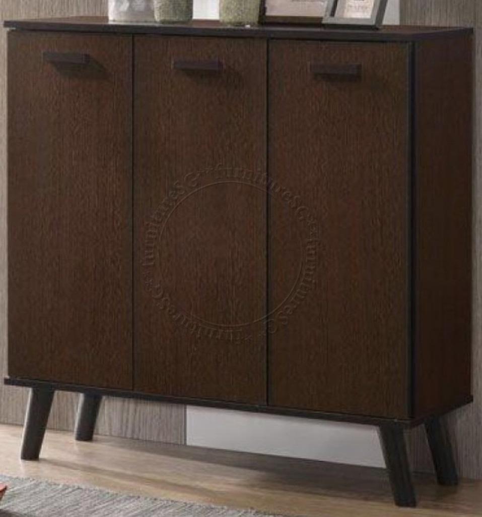 FurnitureSG 3-Door Wooden Shoe Cabinet