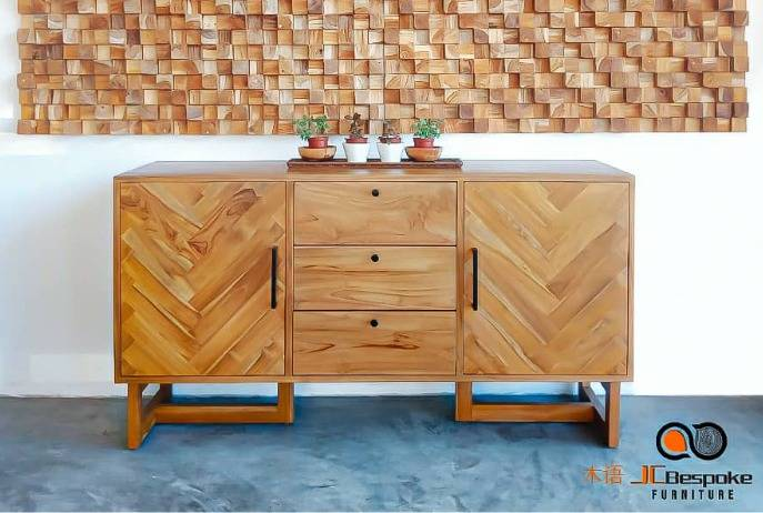Caily solid teak wood side board