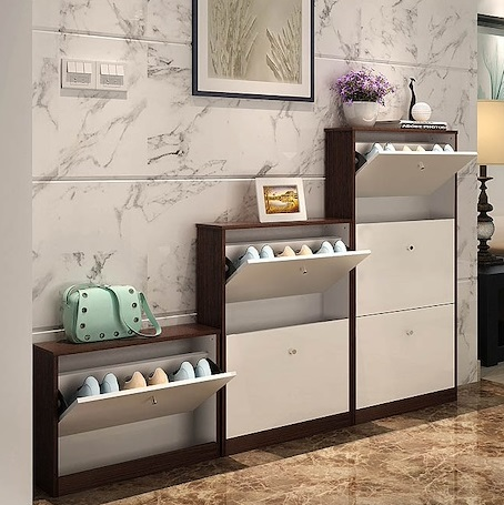 Simple modern ultra-thin shoe cabinet large capacity plate type dumping