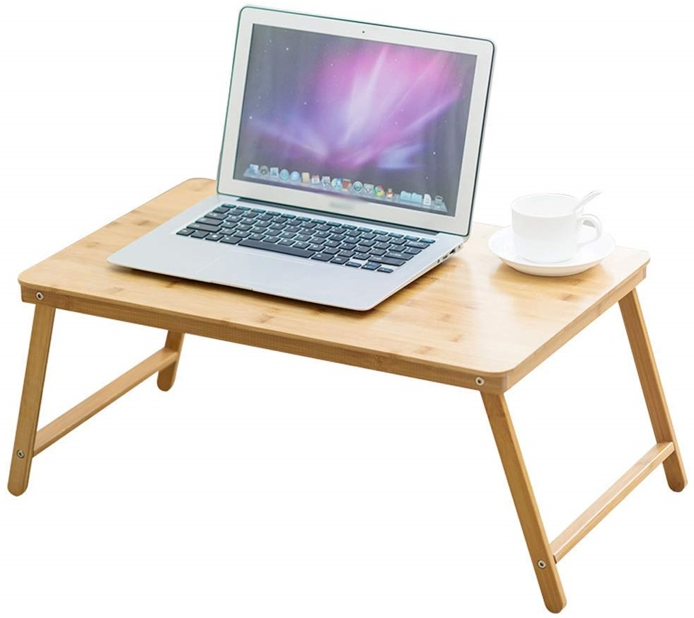 Tsm Foldable Laptop Bed Table Bamboo Wood