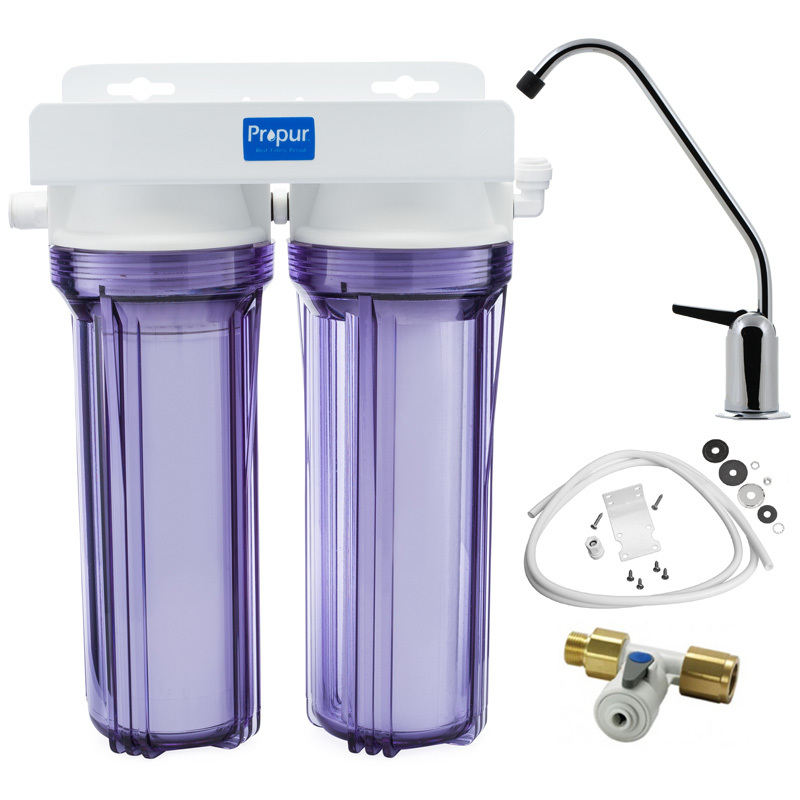 2 Stage Under Sink Drinking Water Filter System Sediment PP Cotton Carbon