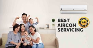 A photo of a family in the living room with wall mounted aircon at the back