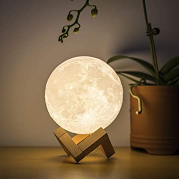 Creative 3D Printing Moon Lunar USB Rechargeable LED Light Moonlight