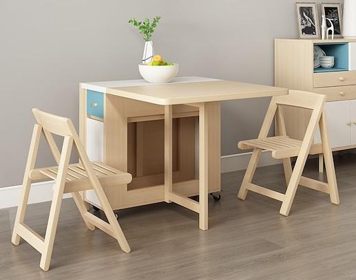 Foldable Table Wood Storage Shelf movable Table